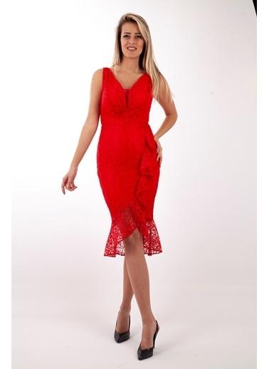 Belamore  Kırmızı Kolsuz V Yaka Önü Fırfır Detaylı Dantel Abiye & Mezuniyet Elbisesi 130173.08 Kırmızı